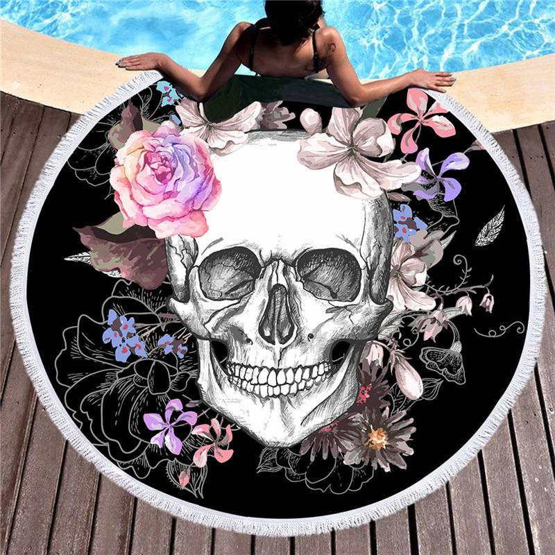 <+>  Женщины Большое банное полотенце Пляжный Толстый Круглый 3d Сахарный Череп Печатные Пляжные Полотенц ①