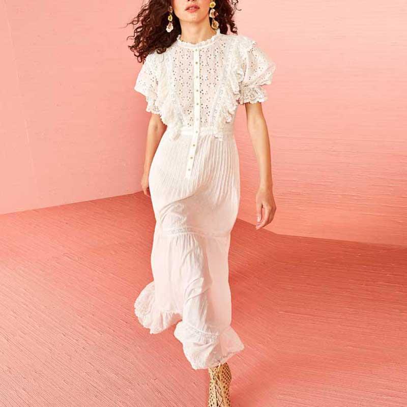 BOHO inspiré blanc oeillet femmes robe à volants bouton up pure 2019 printemps été robe à manches courtes résorbé longue robe de soirée