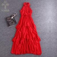 YOSIMI 2018 Summer Dress Maxi Elegant Red Chiffon Vintage Ruffles Long Women Dress Sexy Party Stand neck Beach Long Dress Female