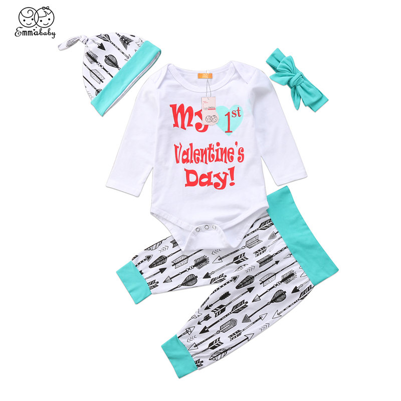 My First Valentine's Day Outfit Toddler Baby Boy Girl Clothes Set Infant Bodysuit+Pants+Headband+Hat 4Pcs Newborn Clothing