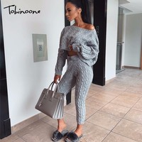 Tobinoone Sexy Jumpsuits Women 2018 Long Sleeve Casual Rompers Knitted Hole Jumpsuit Female Elastic Waist Overalls Streetwear
