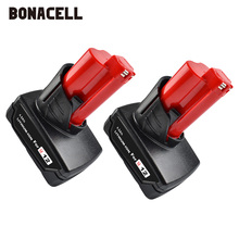 Bonacell 4000mAh 12V for Milwaukee M12 Power Tool Rechargeable Lithium Ion Battery Replacement Battery L30 bonacell 40v 6000mah rechargeable replacement battery for creabest 40v 200w greenworks 29462 29472 22272 g max gmax l30