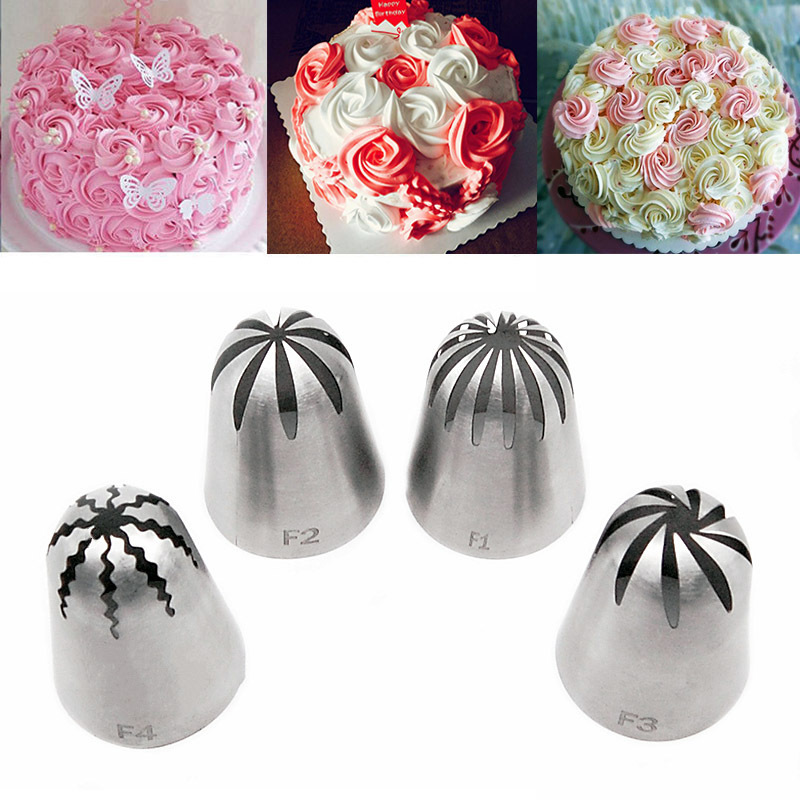4pc  Large Size Stainless Steel Decorating Mouth Cookies Cake Cream Baking Tools