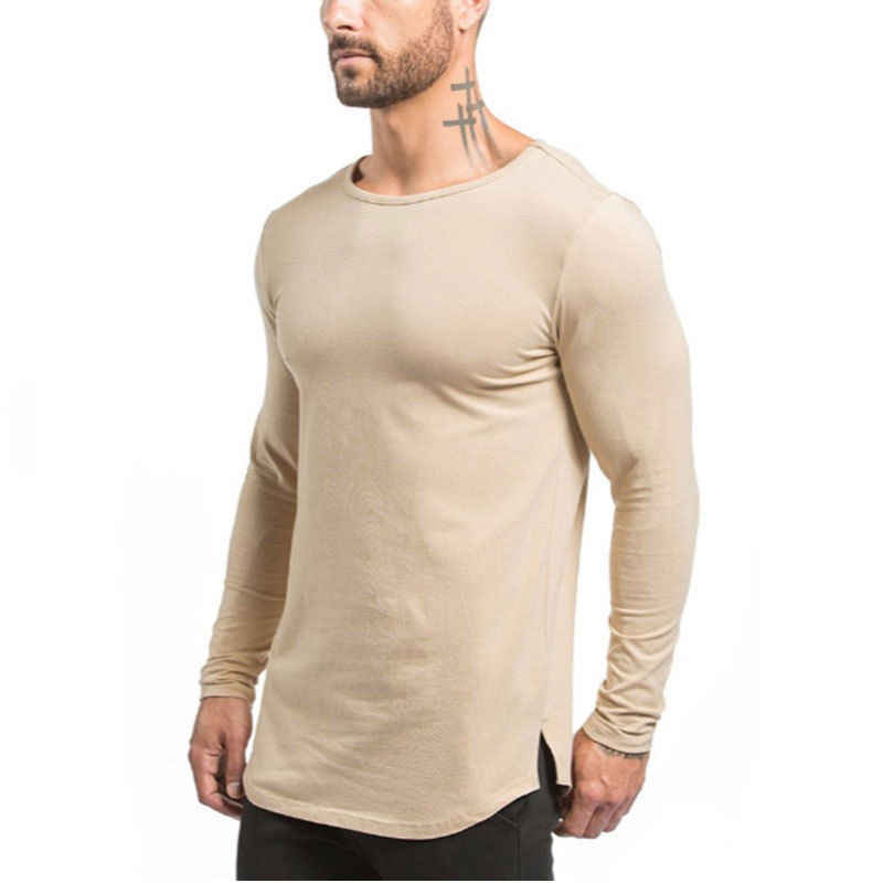 959a301d Cool Mens Black White Beige Crew Neck Gym T-Shirts Slim Muscle Fit Long  Sleeve