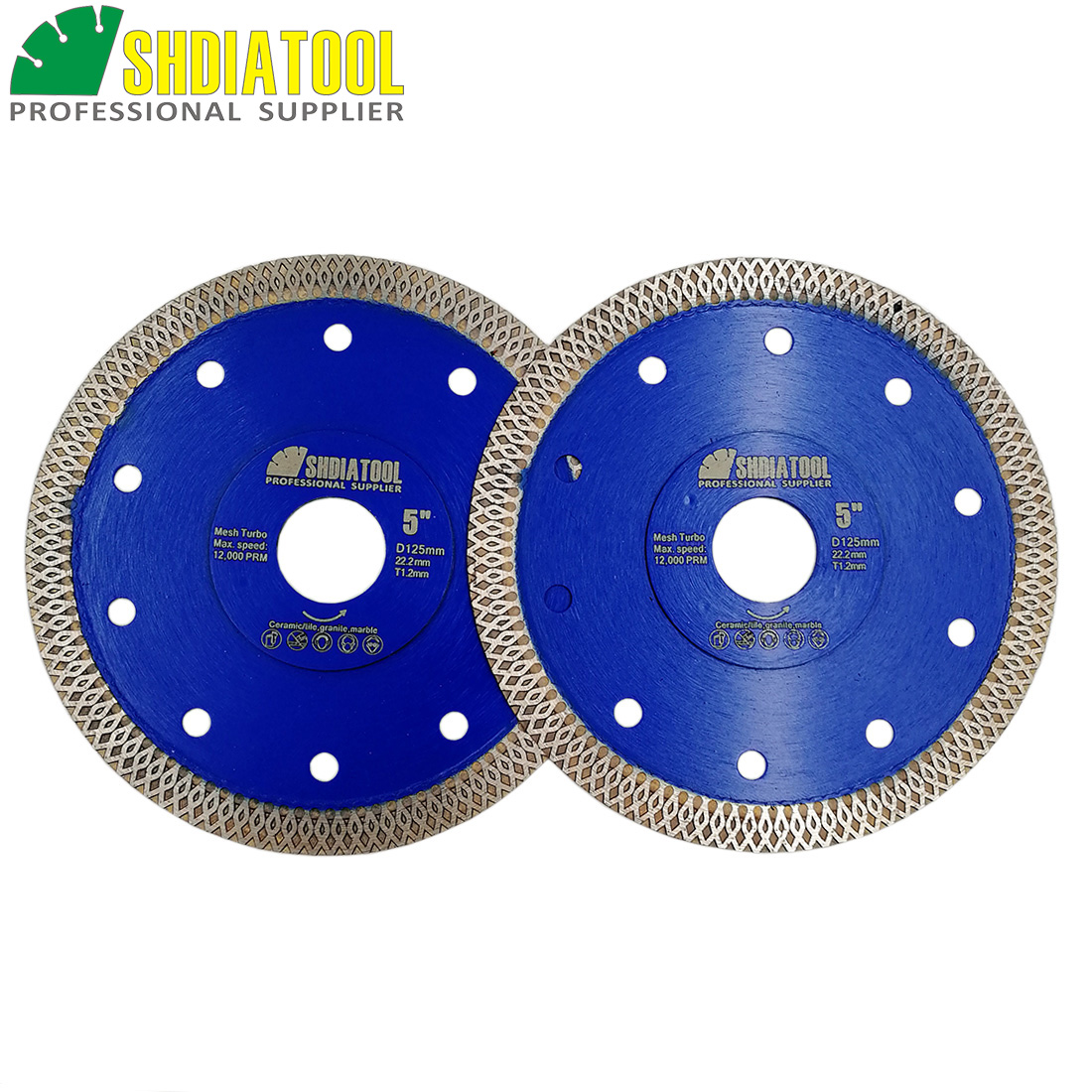 SHDIATOOL 2units Dia 5inch/125mm Hot Pressed Mesh Turbo Diamond Saw Blade Diamond Height 10MM Cutting Disc For Ceramic Tile