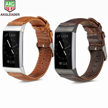 For Fitbit Charge 3 Genuine Leather Band Vintage Strap Men Wonwen Wristband 2 /Charge SE Smart Bracelet