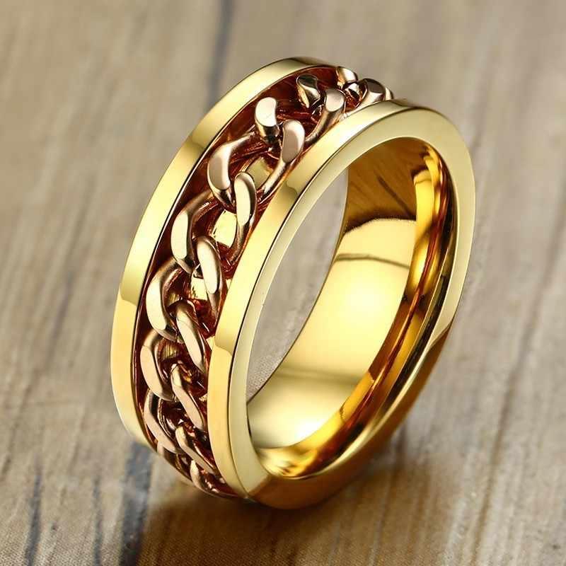 Цепи Кубинский Ссылка Spinner кольцо для мужчин свадебные бренды нержавеющая сталь ювелирное изделие с мотоциклом 8 мм ширина