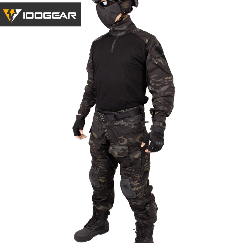 IDOGEAR Combat BDU camouflage men uniform G3 Tactical clothes Airsoft Clothing Black cotton polyster