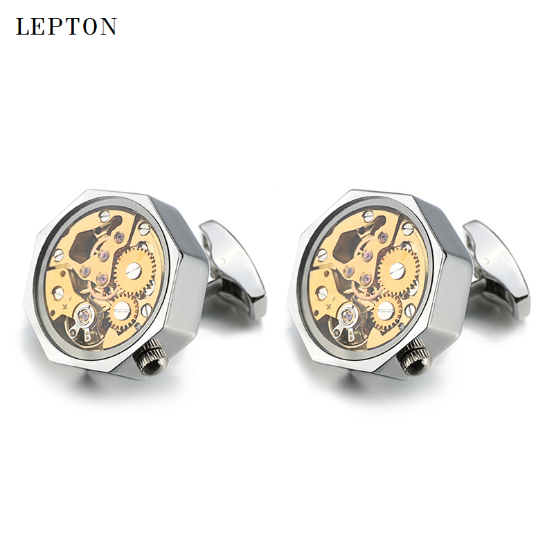 Low key Luxury Gold Watch Movement Cufflinks With Glass Lepton Stainless Steel Steampunk Gear Watch Mechanism Cufflinks for Mens in Tie Clips Cufflinks from Jewelry Accessories