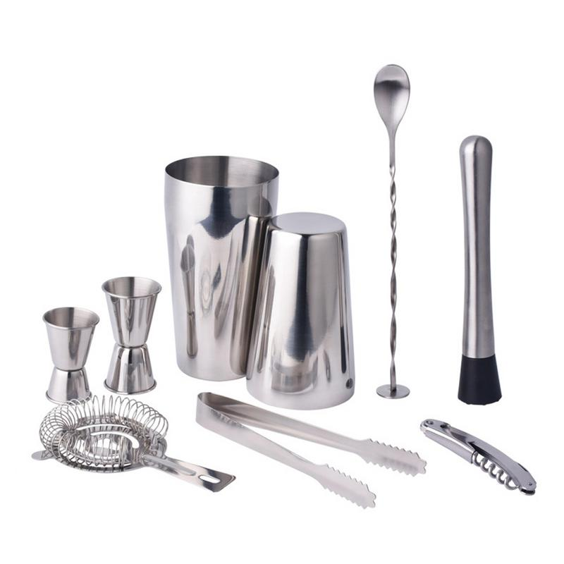 9 Piece Stainless Steel Cocktail Shaker Set Bar Bartending Tool Set Cocktail Shaker Suits Bar Drink Brewery Bar Accessories