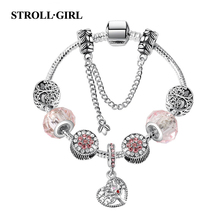 New arrival Hollow heart the tree of Life charm bracelet DIY original Zinc Alloy beaded fashion jewelry making for women gifts