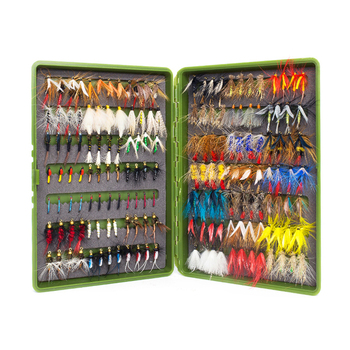 168Pcs wet dry fly fishing set  nymph streamer poper emerger flies tying kit material lures box tackle for carp trout