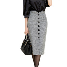 Autumn and Winter Women High Waist Knee Length Pencil Skirt Female Woolen Single Breasted Midi saia office faldas mujer