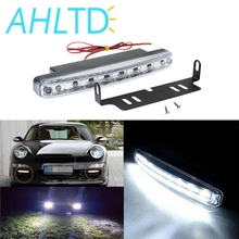 Car Led Daytime Driving Running Light 8 LED DRL Fog Lights Waterproof Bright White Auto Durable DC 12V Head Lamp Parking Bulb new dimming style relay waterproof 12v led car light drl daytime running lights with fog lamp hole for mitsubishi asx 2013 2014