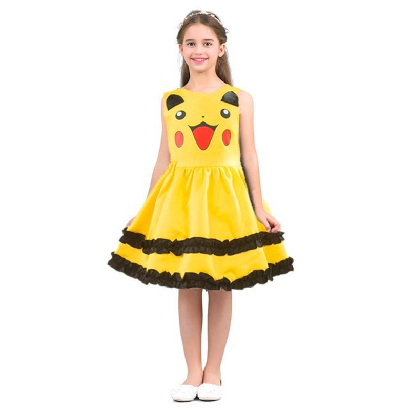 Girls Pikachu Cosplay Costume Cute Ball Gown Kids Lovely Dress Anime Halloween Pokemon Dresses Birthday Party Princess Vestidos