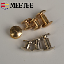 10pcs Meetee Belt Screws Dual Screw Buckle Pure Copper Brass Silver DIY Leather  Accessories