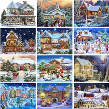 Huacan 5D DIY Diamond Painting Winter Mosaic Full Square Christmas Landscape Picture Of Rhinestone Paintings