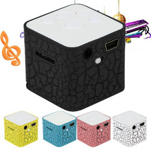 Portable Mini Speaker Colorful Crack LED Light Small Speaker Sound Box Cube Support Micro SD/TF Card Speakers(China)