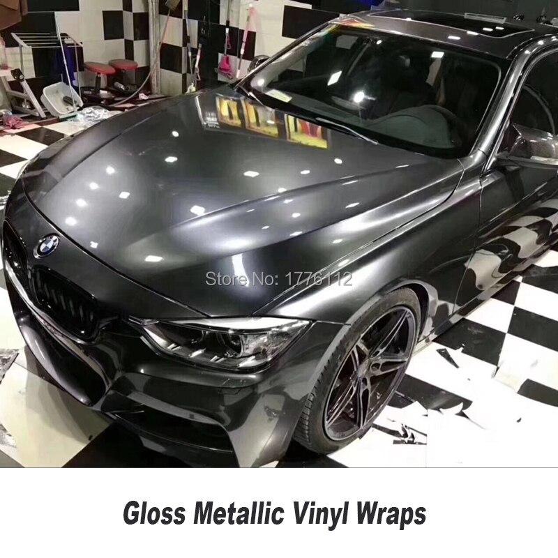 Emballage métallique brillant de voiture d'enveloppe de vinyle de gunmetal coiffant avec la feuille brillante gris foncé libre de bulle d'air taille: 1.52*20 M/Roll