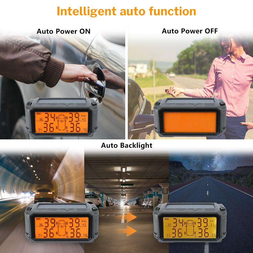 Deelife el sistema de monitoreo de presión de Sensor TPMS coche Solar de Control de presión de los neumáticos de alarma tics rueda externa los sensores internos. - 5