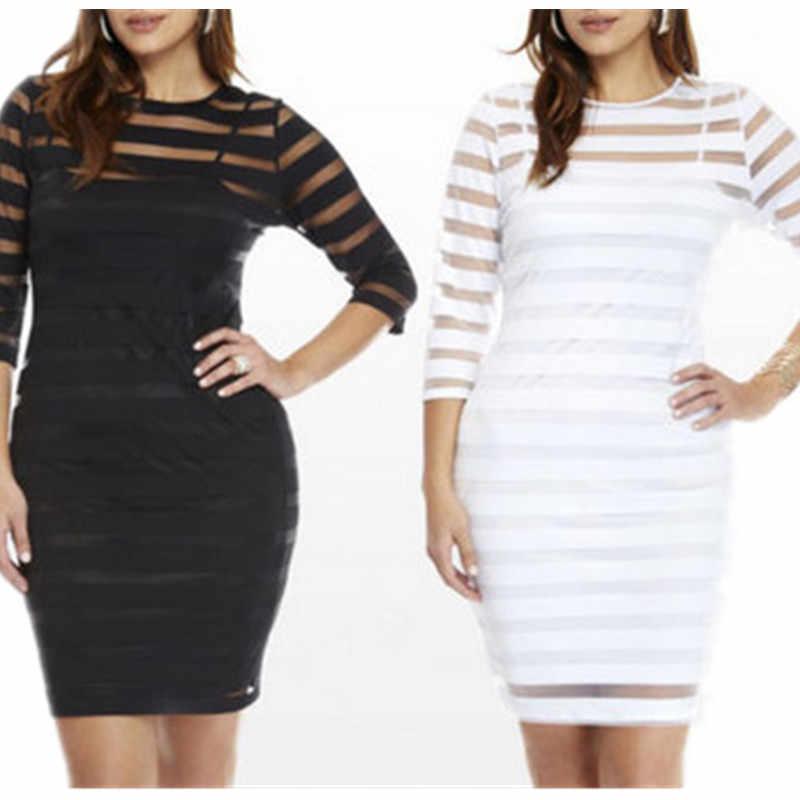 Grande taille 4XL dames dentelle mousseline de soie voir à travers Mini robe blanc noir Long Slevee moulante partie courte Mini robe