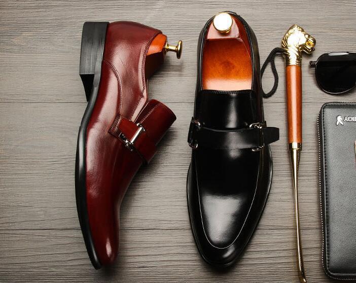 Trabalho Sexo as Pic Homens Formal Vestido Verão Buckle Sobre Mocassins Inteligentes Masculino Sapatos Negócio Do De Black Oxfords Deslizar Casuais Genuíno Couro xFTOwx