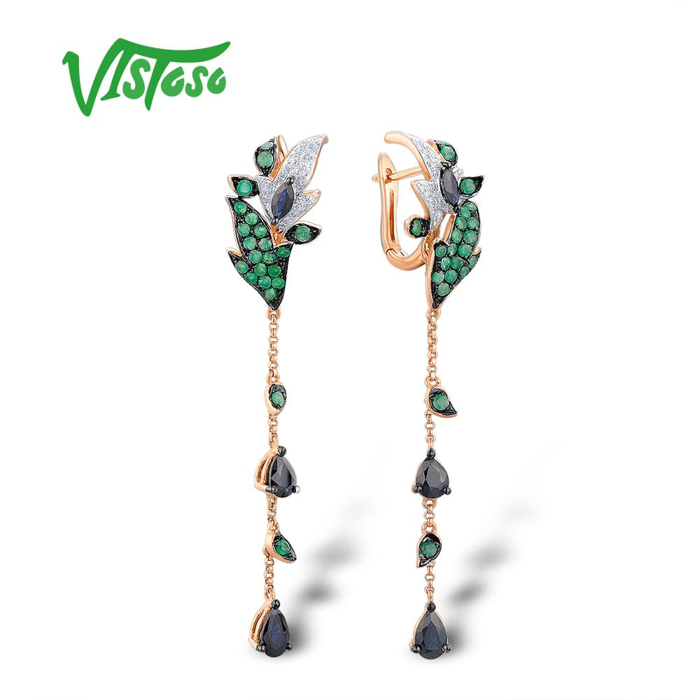 VISTOSO Gold Earrings For Women Pure 14K 585 Rose Gold Sparkling Diamond Emerald Blue Sapphire Unique Wedding Fine Jewelry