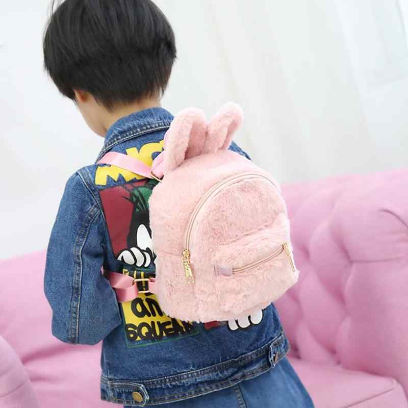 ... Cute Faux Fur Backpack Rabbit Ear Winter Soft Women s Mini Furry Fluffy  Plush Backpack Rucksack sac ... def43aa836419