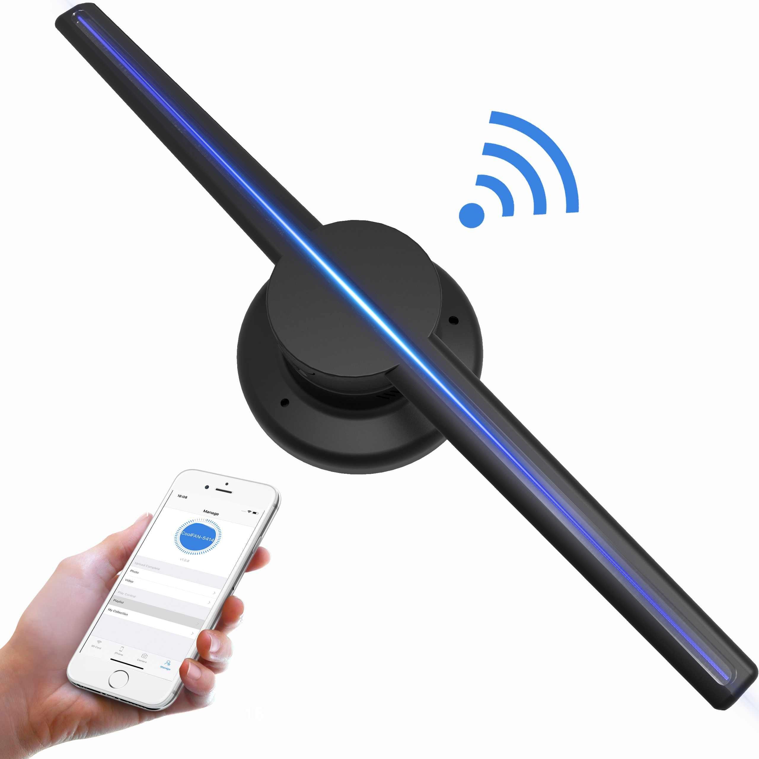 Mis à jour 42 cm/16.54 Wifi 3D Holographique Projecteur Hologramme Lecteur LED Affichage Fan Publicité Lumière APP Contrôle