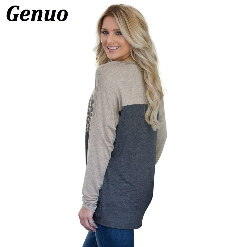 Genuo Hoodies Women Patchwork Pullovers Tops 2018 Fashion Leopard Print Jumper Sweatshirt Female Harajuku O neck Hoodies Shirt in Hoodies amp Sweatshirts from Women 39 s Clothing