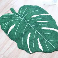 2019 New INS Green Leaf Shape Cotton Blanket Nordic Children Home Decoration Carpet Door Mat Photography Props Leaf Mat