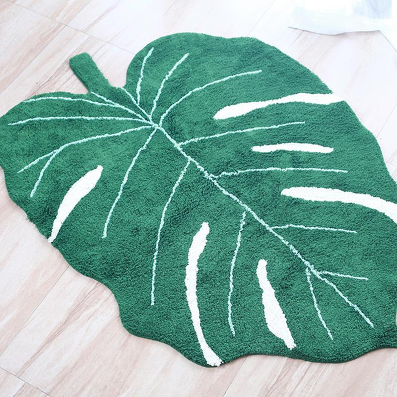 2019 nouveau INS vert feuille forme coton couverture nordique enfants décoration de la maison tapis porte tapis photographie accessoires feuille tapis