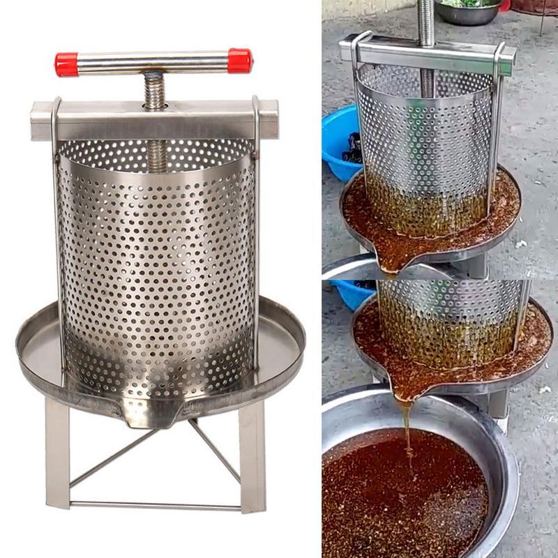 Novo manual do agregado familiar de aço inoxidável mel presser cera imprensa apicultura ferramenta jardim fornecimento