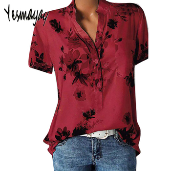 Womens Tops And Blouses Plus Size 5XL Short Sleeve Ladies Office Summer Blouse Women Elegant Shirt Top Femme Blusas Mujer 2019