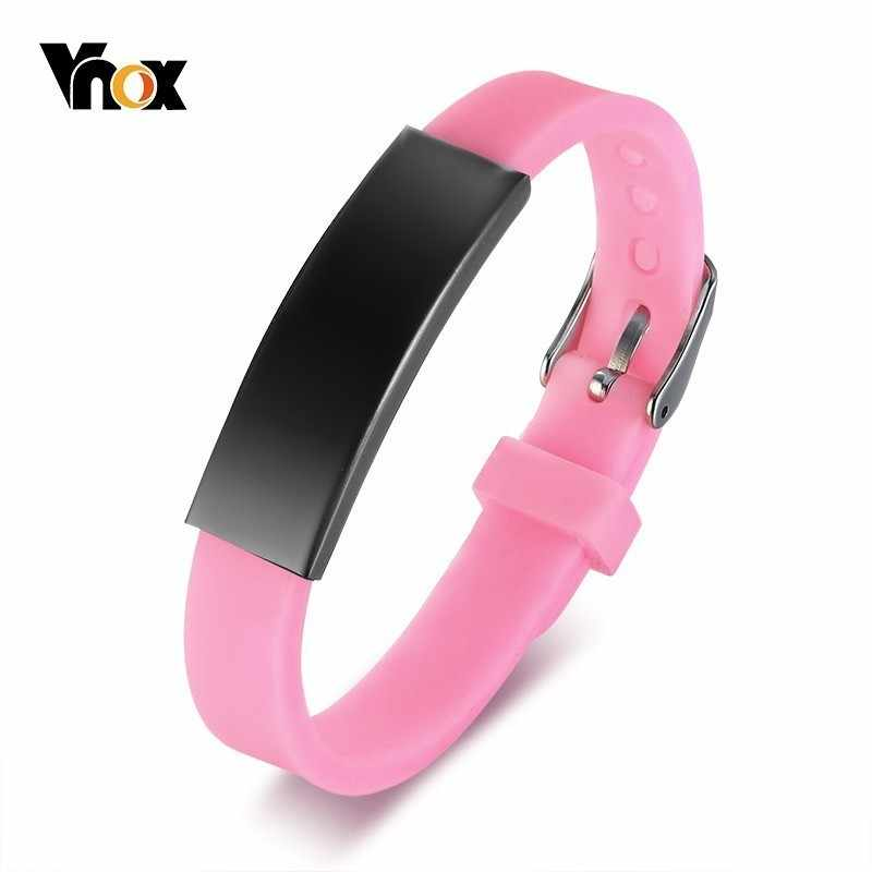 Vnox Pink Silicone Bracelets for Kids Stainless Steel ID Tag Sports Girl Sports Wrist Gifts Jewelry