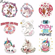 Pulaqi Cartoon Animal Stickers on Clothes Iron Patches for Clothing DIY Badge Heat Transfer T-shirts Applique Wholesale H