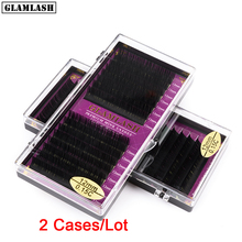 GLAMLASH Wholesale 2 Trays 16Rows natural synthetic mink,individual eyelash extension soft false lash makeup cilia professional
