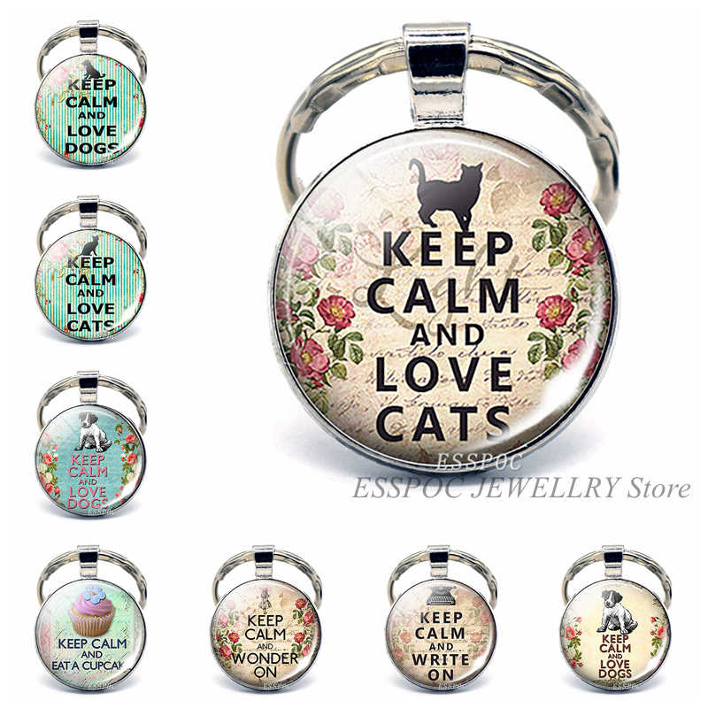 Keep Calm and Love Cats забавная Цитата автомобильный брелок Цитата брелок со стеклянным кабошоном ювелирные изделия автомобильный брелок для ключей Кот влюбленный кулон подарки