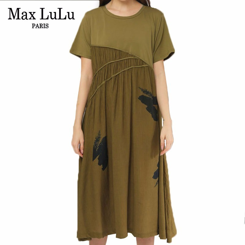 Max LuLu 2019 Luxury Korean Brand Ladies Patchwork Clothes Women Printed Party Oversized Long Dresses Casual