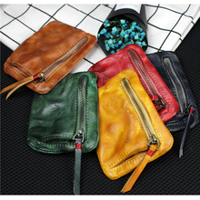 Handmade retro men and women short wallet leather wallet mini small change purse head layer cow leather youth zipper wallet