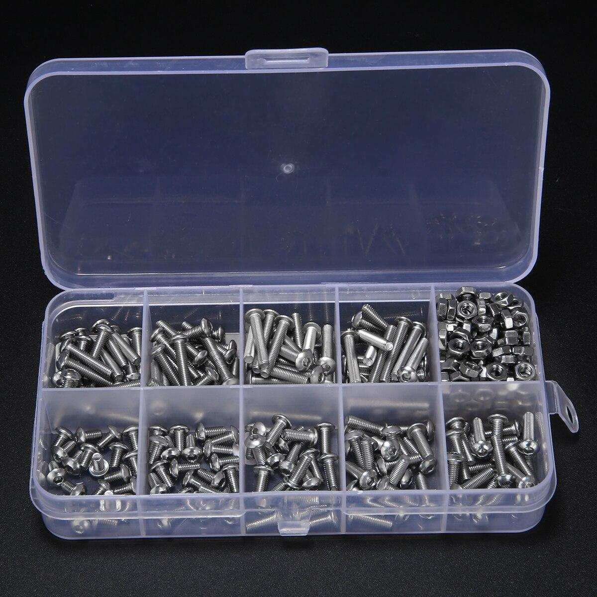 340 stücke Assorted Edelstahl M3 Schraube 5/6/8/10/12/14/16 /18/20mm mit Hex Muttern Bolzen Kappe Buchse Set