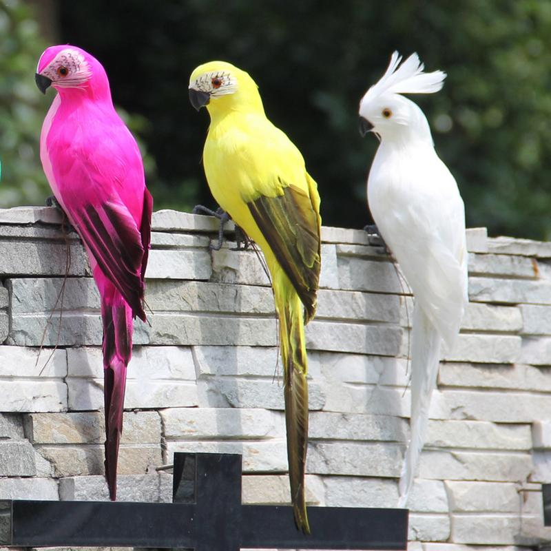 Simulation Feather Parrot Macaw Showcase Garden Decoration Bird Foam Feather Parrot Home Decoration 35cm