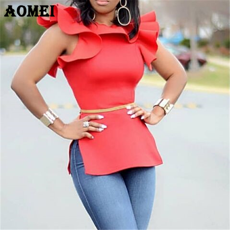 Women Blouses Shirts Tops Ruffles Split Ladies Fashion Casual 2019 Classy Female Slim Spring Summer New Arrival Solid Tops Blusa