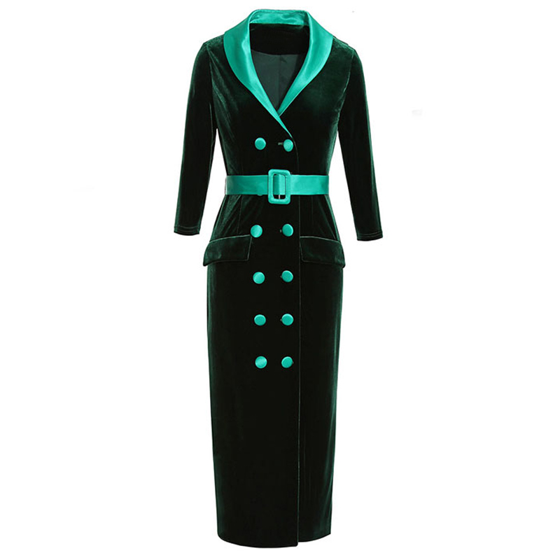 woman velvet dress spring 2019 green black notched collar v neck double breasted button buckle belt