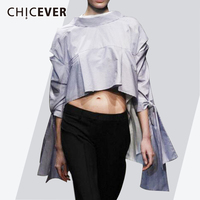 CHICEVER Striped Asymmetry Women's Blouse Shirt Tops Half Sleeve Bow Hollow Casual Korean Summer Shirts Fashion Clothing New