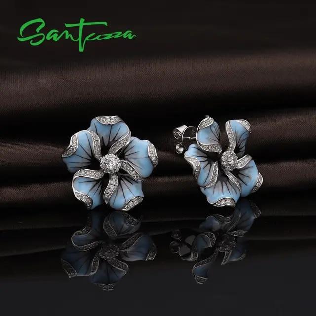 SANTUZZA Jewelry Set 925 Sterling Silver For Woman Gorgeous Blue Flower Ring Earrings Fashion Trendy Jewelry Set HANDMADE Enamel