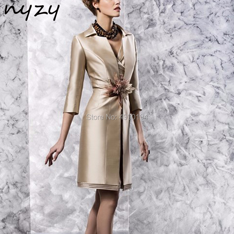NYZY M107 Champagne Mother of the Bride Jacket Dresses Formal Dress for Wedding Party Guest Mother Dresses Suits Outfits 2019