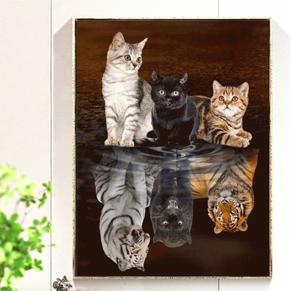 Arts,crafts & Sewing 3d Diy Diamond Embroidery Painting Animals Of Cat To Tiger Home Decoration Wall Painting Of Diamond Mosaic 5d Pattern Rhinestone