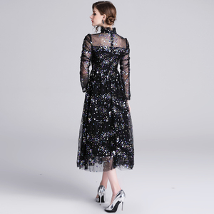 Image 5 - Banulin HIGH QUALITY Newest Stylish 2019 Runway Party Dress Womens Long Sleeve Star Sequined Embroidered Gauze Mesh Dress