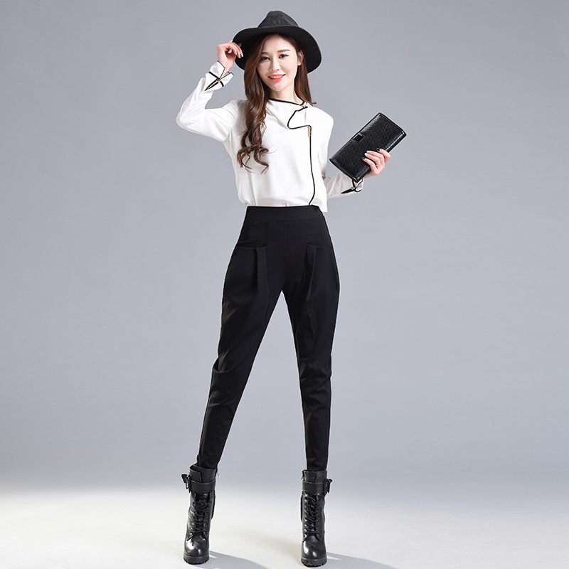 England Style Harem Pants Women Spring High Waisted Black Pencil Pants Trousers Ladies Elegant Skinny Pants Plus Size Breeches